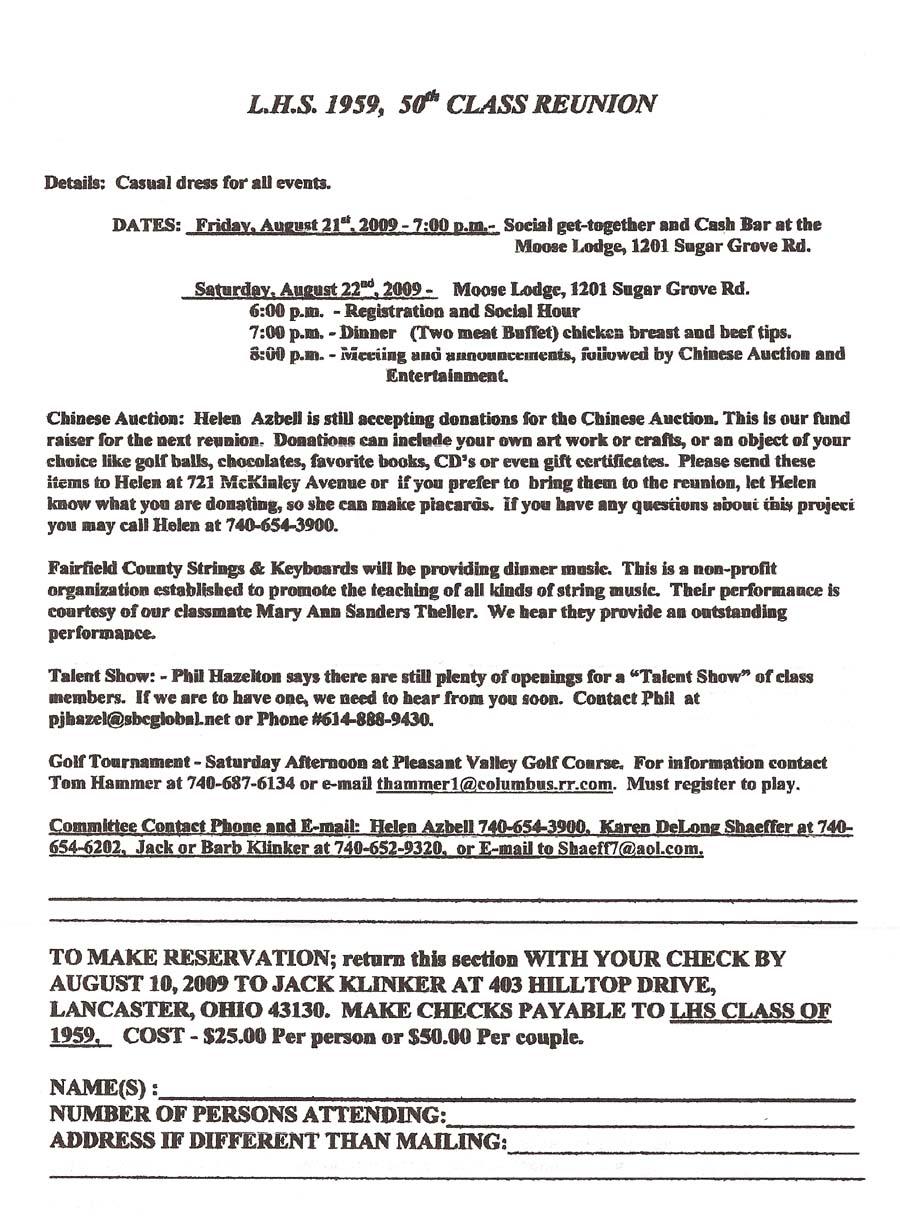 LHS59 Reunion Planning | 1959 Class of Lancaster High School